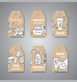 tags with cosmetic bottles vector image