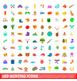 100 hunting icons set cartoon style vector image vector image