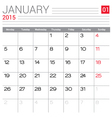 2015 January calendar page vector image vector image