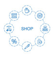 8 shop icons vector image vector image