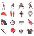 Baseball flat icons set vector image