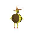 brave kiwi cartoon character man in fruit costume vector image vector image