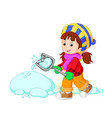 cartoon kids playing with snow vector image vector image