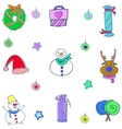 Cute christmas object doodle set vector image