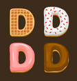 d letter belgium waffles with different toping vector image vector image