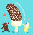 dark chocolate frozen banana pop vector image vector image