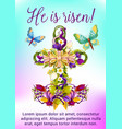easter flower cross with egg greeting card design vector image