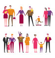 family with kids cartoon parents and vector image vector image