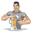 fitness men preparing his healthy meal by using vector image vector image