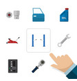flat auto set of spanner lifting automatic vector image vector image