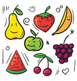 fruits and berry pear apple banana cherry vector image vector image