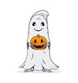 ghost with pumpkin in hands on white background vector image vector image