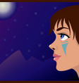 girl moon and mountains vector image vector image