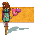 girl with balloons vector image vector image