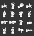 hand gesture icons set grey vector image vector image