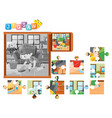 jigsaw pieces for boy cleaning floor vector image vector image