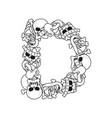 letter d skeleton bones font anatomy of an vector image vector image
