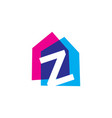 letter z house home overlapping color logo icon vector image vector image
