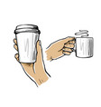 male hand holding cup coffee or tea vector image