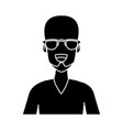 man face with glasses cartoon vector image vector image
