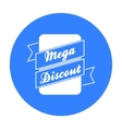 Mega discount icon in black style isolated on vector image vector image