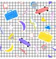 memphis pattern skateboard recorder banana figures vector image vector image