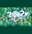 modern paper cut banner with earth globe and 2021 vector image