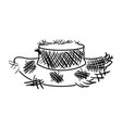 monochrome silhouette of old straw hat vector image vector image