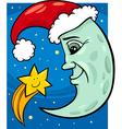 moon and star christmas cartoon vector image