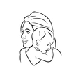 Mother with baby linear silhouette vector image vector image