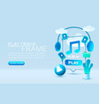 play music smartphone mobile screen technology vector image vector image
