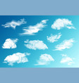 realistic clouds set white cloud blue sky vector image vector image