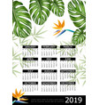 realistic tropical 2019 year calendar poster vector image vector image