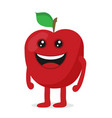 red apple cartoon character fruit flat icon vector image