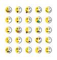 set linear or cartoon duplicity emoji vector image vector image