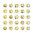 set of linear or cartoon duplicity emoji vector image