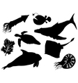 set of silhouettes of sea animals vector image vector image