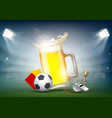soccer ball and a glass of beer on the stadium vector image
