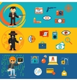 Spy secret agent and cyber hacker characters vector image vector image