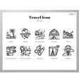 travel icons line pack vector image vector image