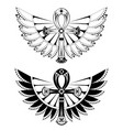 two ankhs with wings vector image