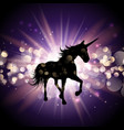 unicorn on starburst background vector image vector image