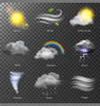 weather realistic 3d icons set sun cloud vector image vector image