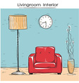 Sketchy of livingroom interior with red chair vector image