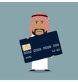 Arab businessman with credit card vector image