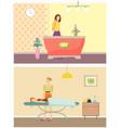 beauty spa salon receptionist and procedure vector image vector image