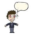 cartoon staring man with speech bubble vector image vector image