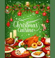 christmas dinner cuisine greeting card vector image