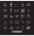 cinema editable line icons set on black vector image
