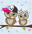 cute owls is sitting on a branch vector image